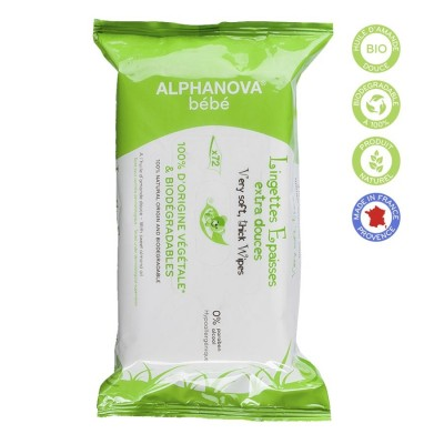 Alphanova -Organik Bebek Islak Mendil 72 Adet