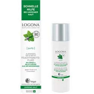 Logona - Organik Matlaştırıcı Etkili Gündüz & Gece Nemlendirici Fluid ( Akneli Ciltler- Nane &Salisilik Asit) 30ml